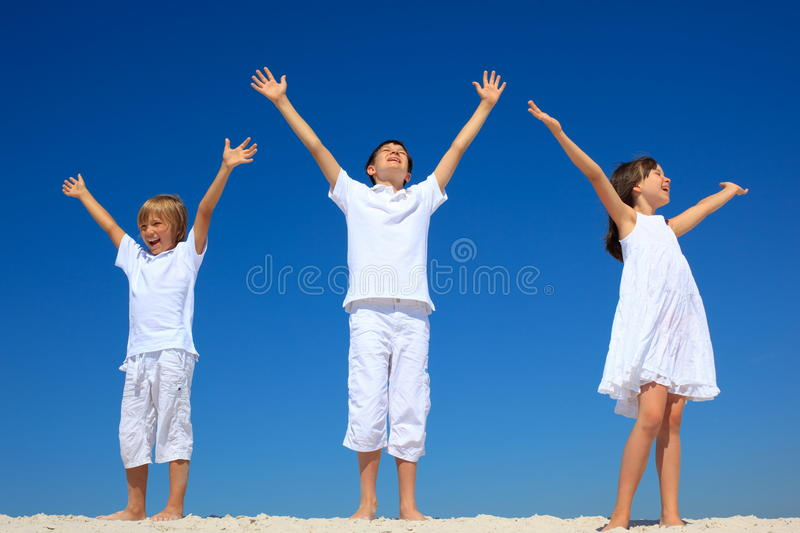 Download Children with raised hands stock photo. Image of arms - 13684682