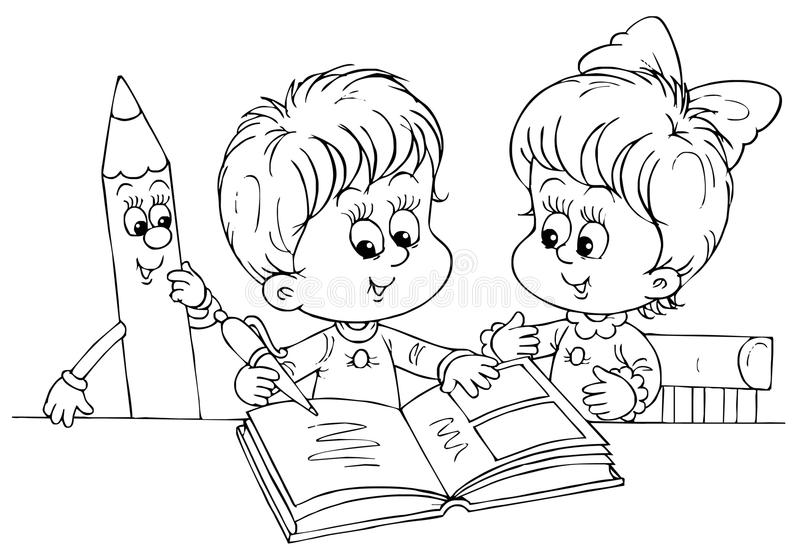 Children reading a book stock photography