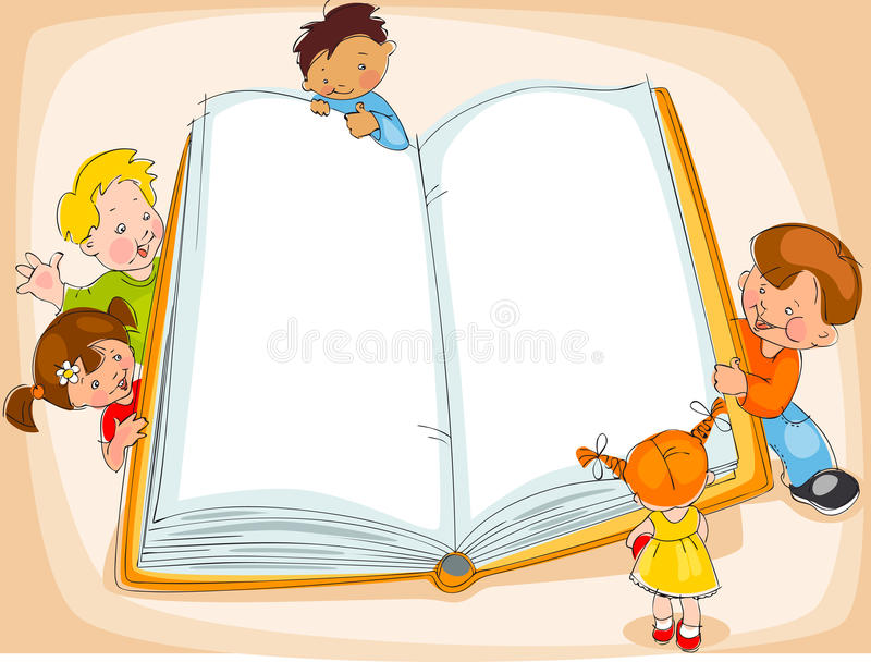 Children reading book. Young children are reading a great book. drawing Banner royalty free illustration