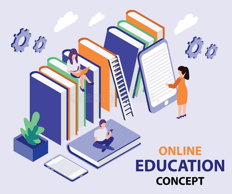 Children Reading Book from a Online Mobile App Isometric Artwork Concpet. Isometric Artwork Concept of Online Education where, Students are learning through stock illustration