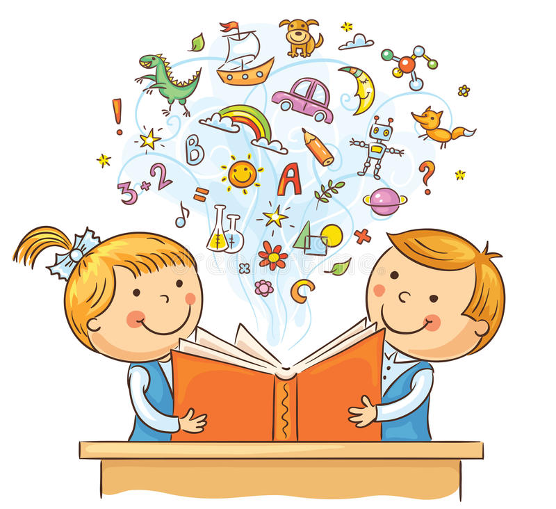 Children Reading a Book Together. Children reading a book and learning many new things, no gradients vector illustration