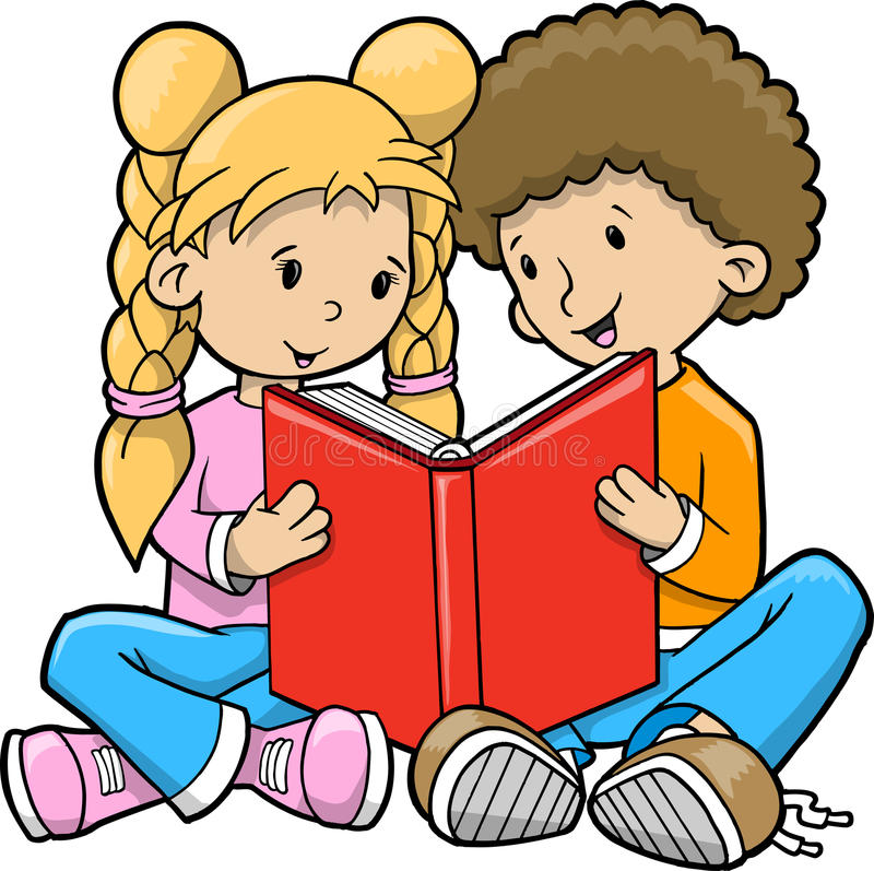 Children Reading Book Vector royalty free illustration