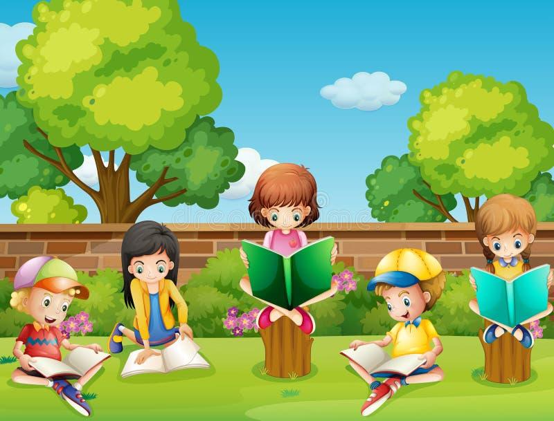 Children Reading Books In The Garden Stock Vector Illustration Of Clipart Outdoor 71351525