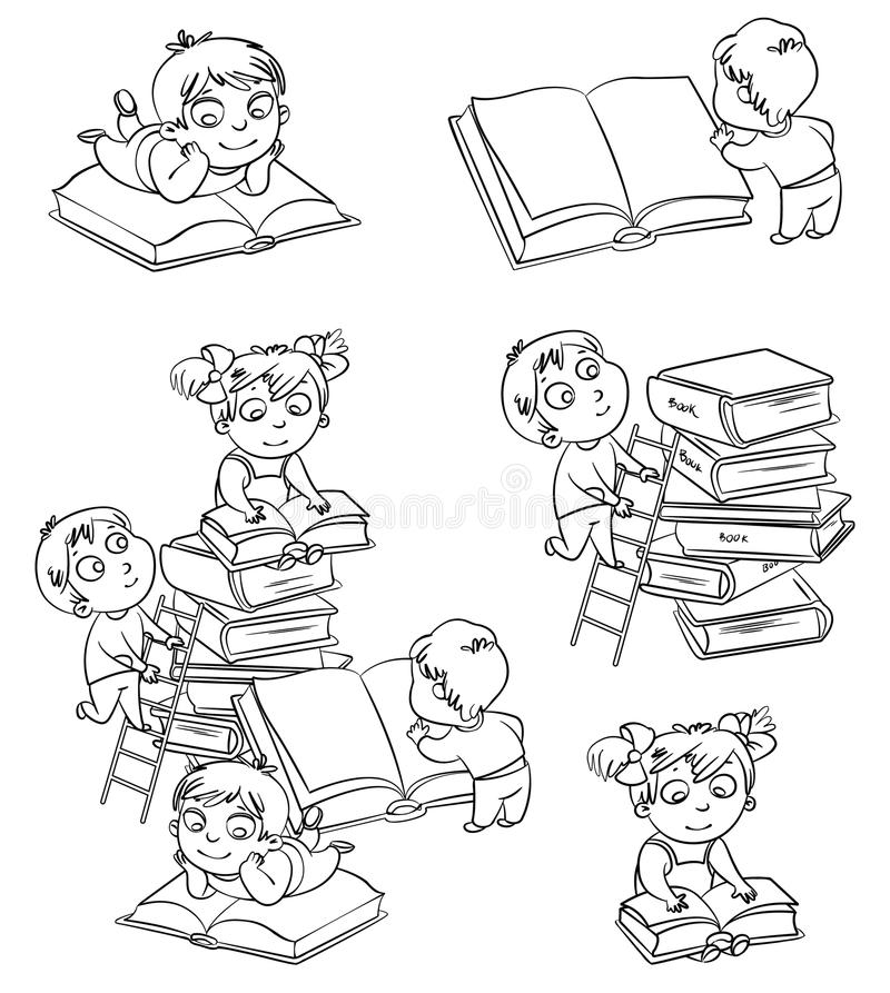 Children reading books in the library. Coloring book royalty free illustration