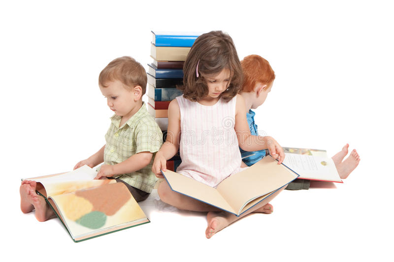 Children reading kids picture library books stock photography