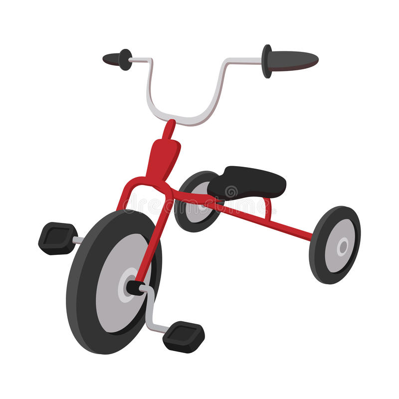 Children red tricycle cartoon icon royalty free illustration