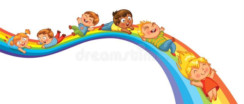 Children ride on a rainbow stock illustration
