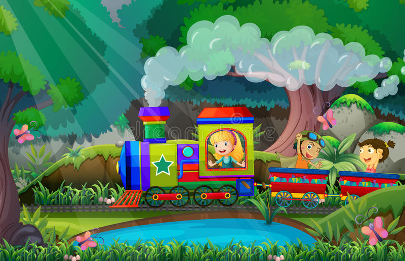 Children ride on train in the woods royalty free illustration