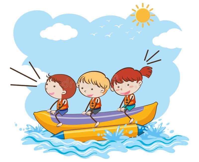 Children Riding Banana Boat stock illustration