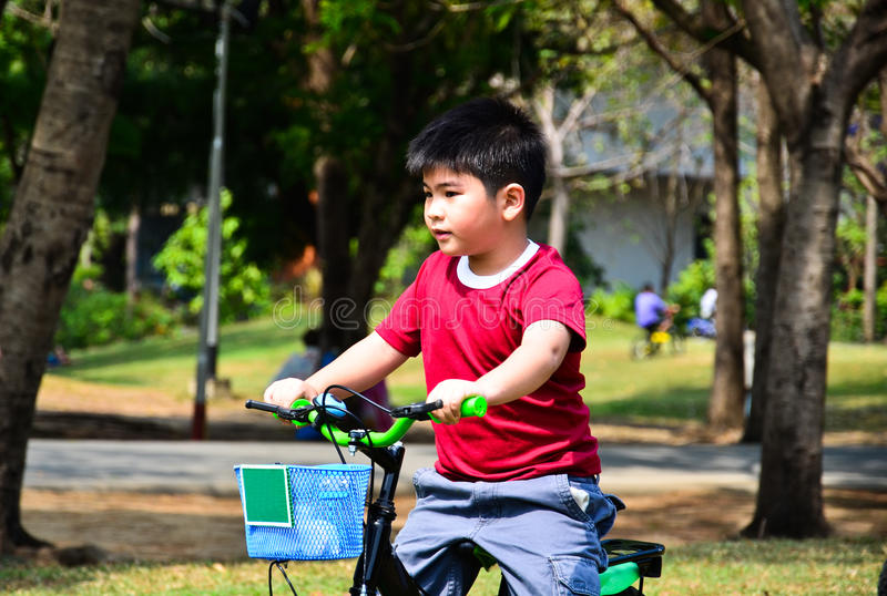 Children riding bicycles. Children riding bicycles in park royalty free stock photo