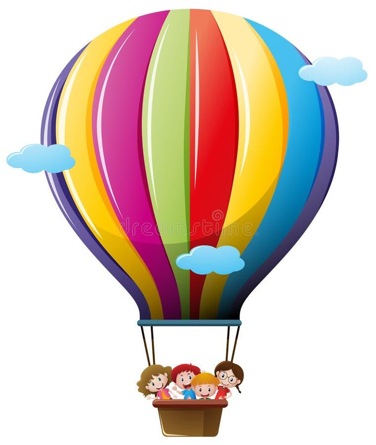 Children riding on colorful balloon stock illustration