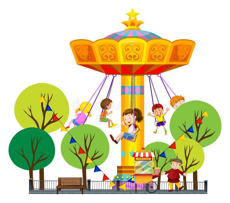 Children riding on giant swing at the park vector illustration