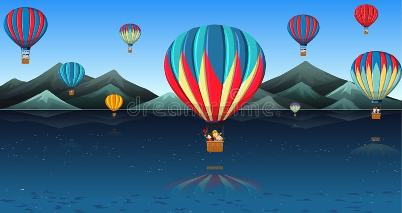 Children riding hot air balloon vector illustration