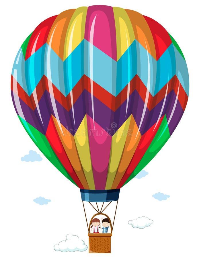 Children riding in the hotair balloon vector illustration