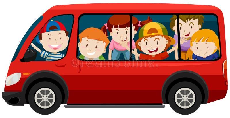 Children riding in red van royalty free illustration