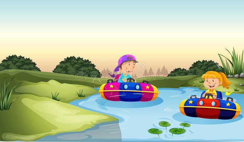 Children riding on rubber boats vector illustration