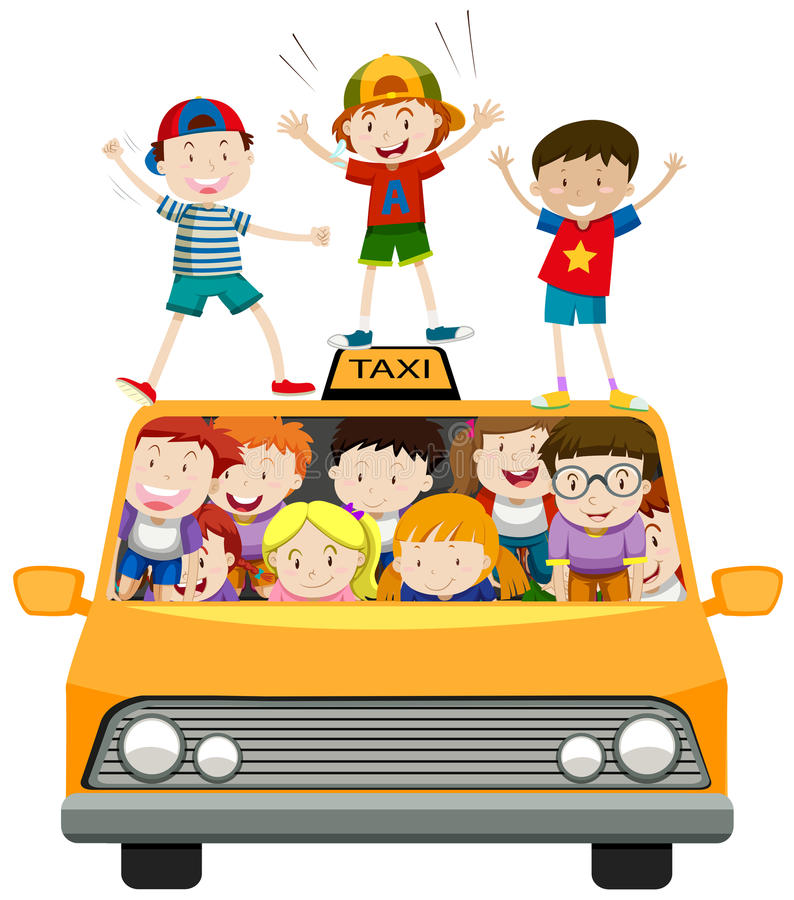 Children riding on taxi stock illustration