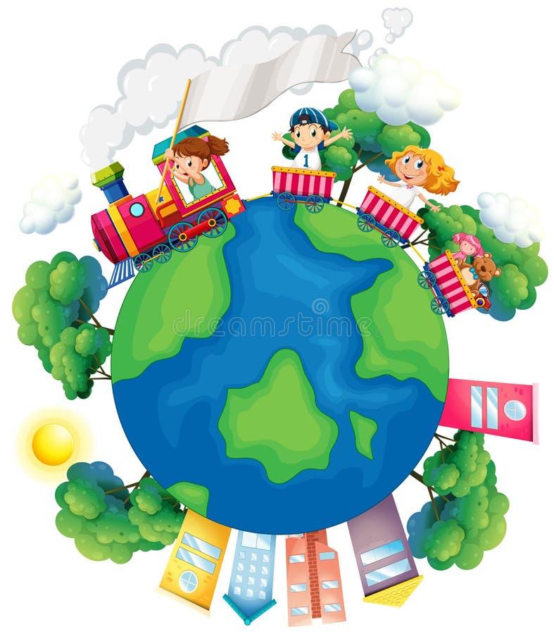 Children riding on train around the world. Illustration vector illustration