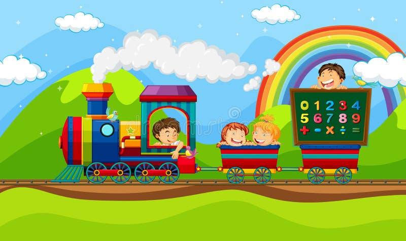 Children riding on train royalty free illustration