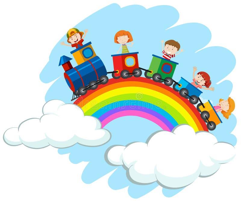 Children riding train over the rainbow royalty free illustration