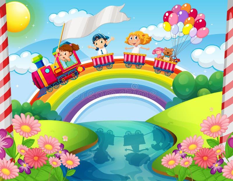 Children riding on train over rainbow stock illustration