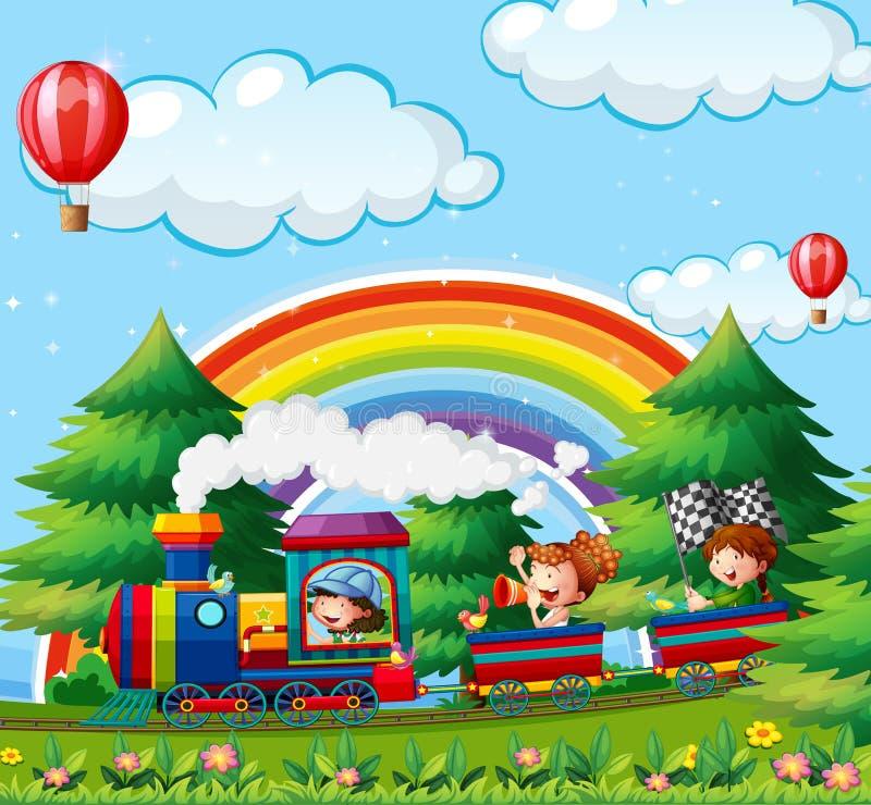 Children riding on train in the park stock illustration