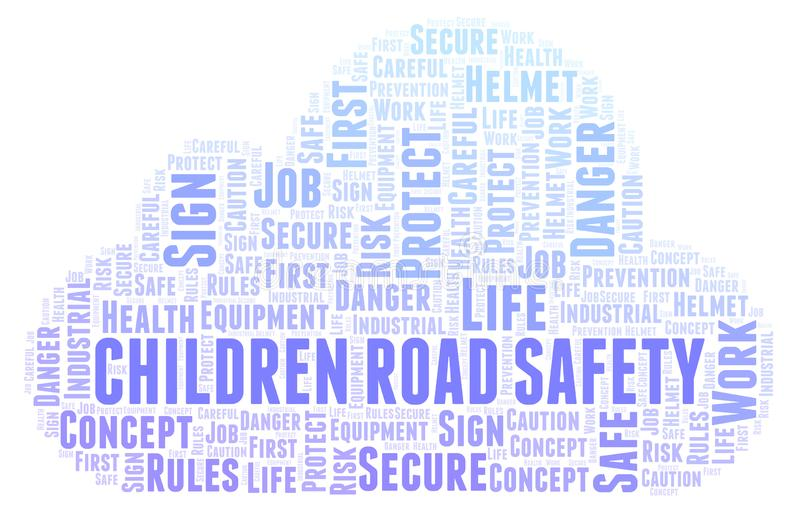Children Road Safety word cloud. stock illustration