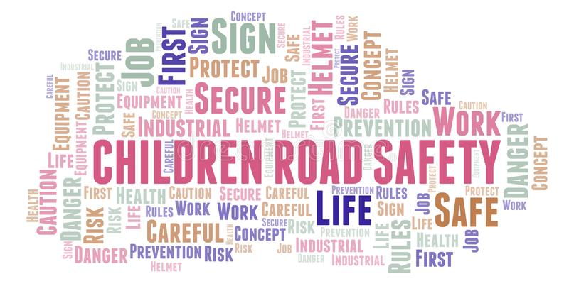 Children Road Safety word cloud. royalty free illustration
