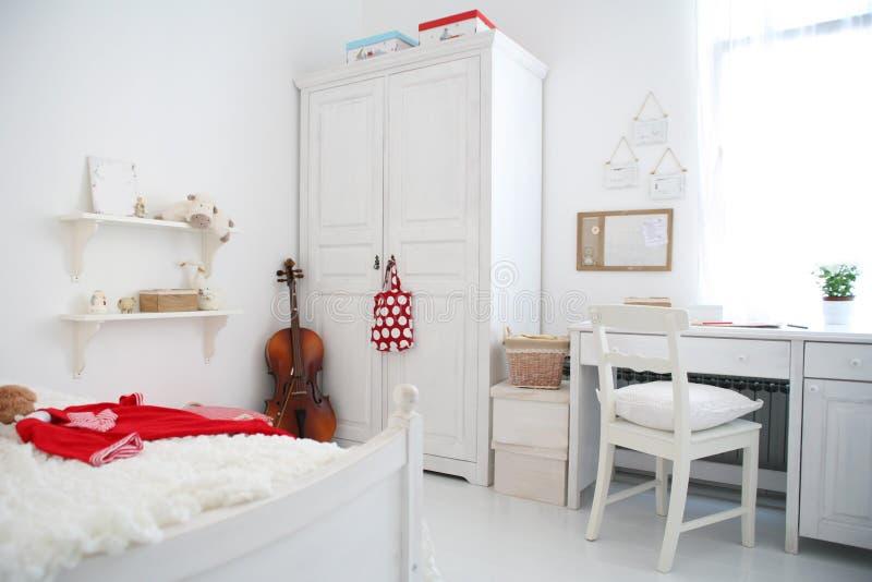 Children room. Romantic white with cello