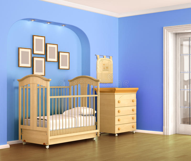 Children room in blue tones, for baby boy. 3d illustration vector illustration