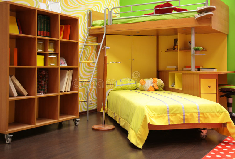 Children room with double bed royalty free stock image