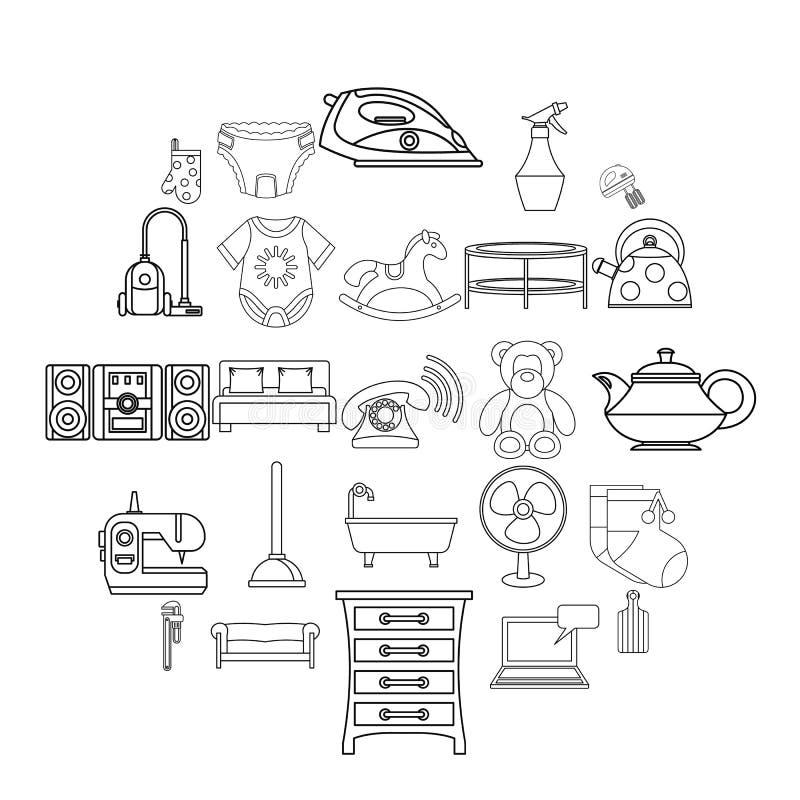 Children room icons set, outline style vector illustration