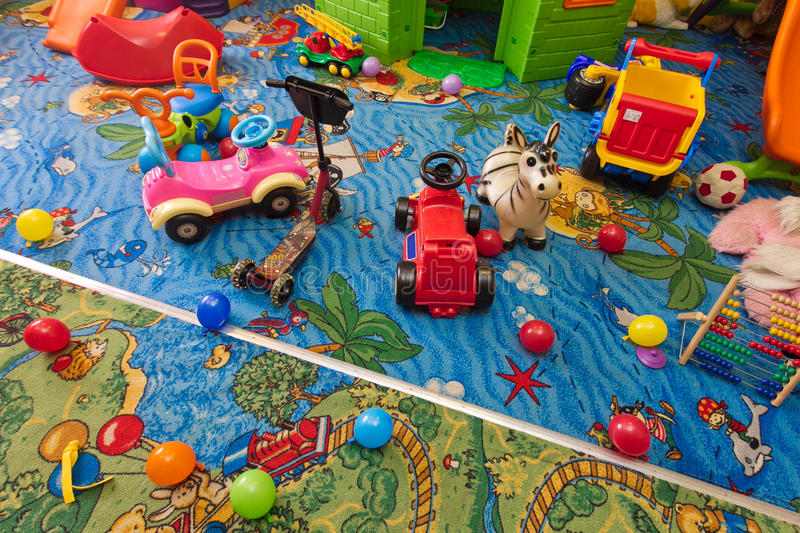 Children room. Interior of childrens room, many toys on the floor vector illustration