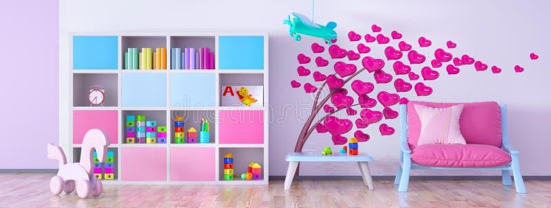 Children room interior 3d rendering. Interior of children room with armchair and bookcase 3d rendering vector illustration