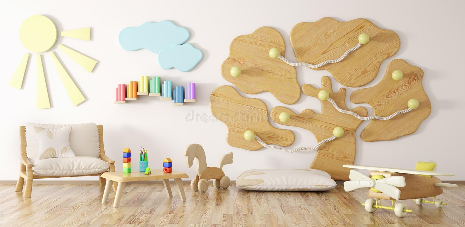 Children room interior 3d rendering. Interior of children room with armchair and playground 3d rendering vector illustration