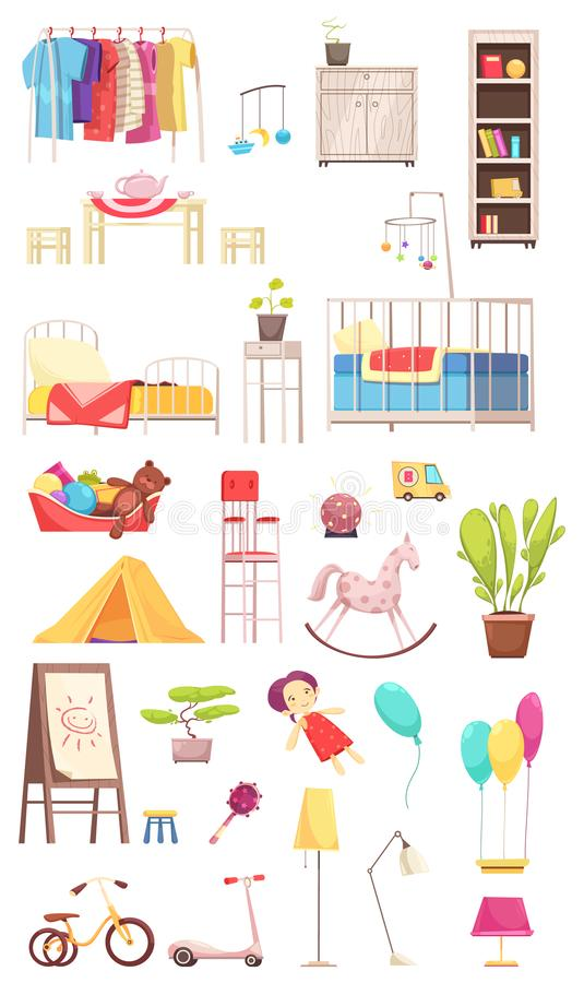Children Room Interior Elements Set stock illustration