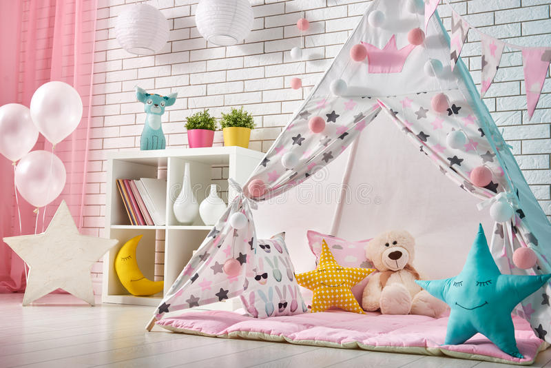 Children room with play tent royalty free stock photos