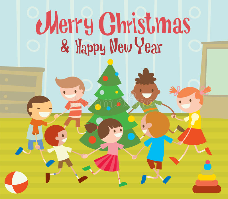 Children round dancing Christmas tree in baby club vector illustration