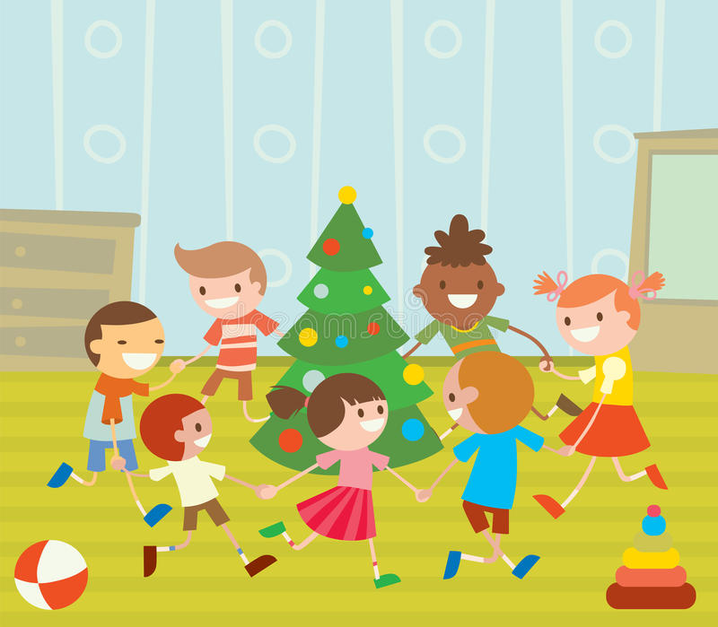 Children round dancing Christmas tree in baby club stock illustration