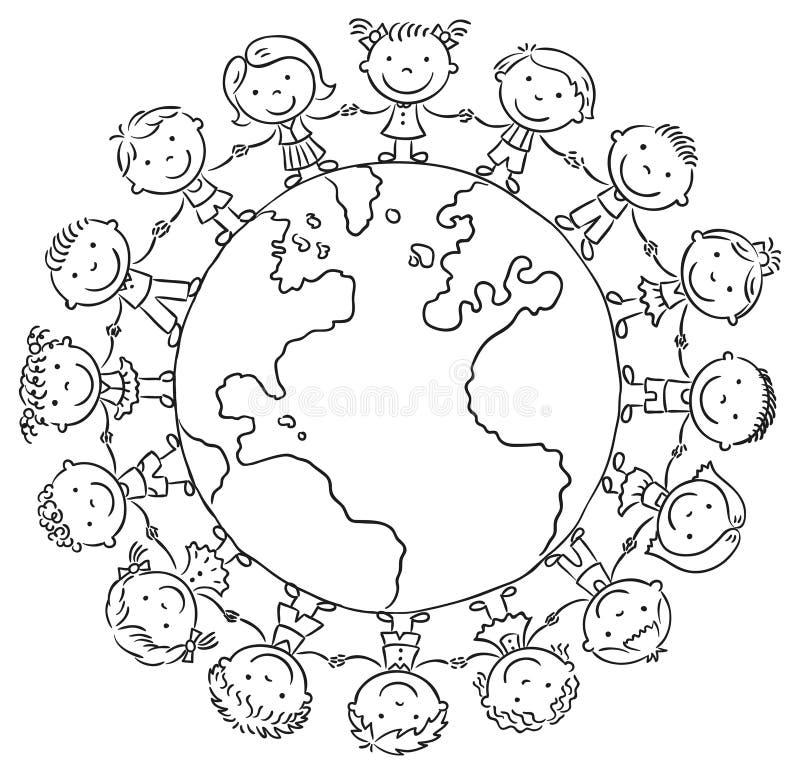 Children round the Globe vector illustration
