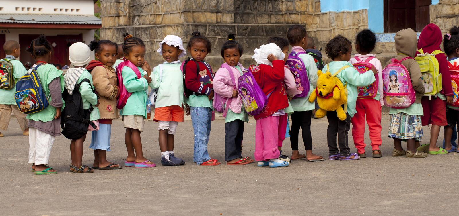 Children in the row royalty free stock photo