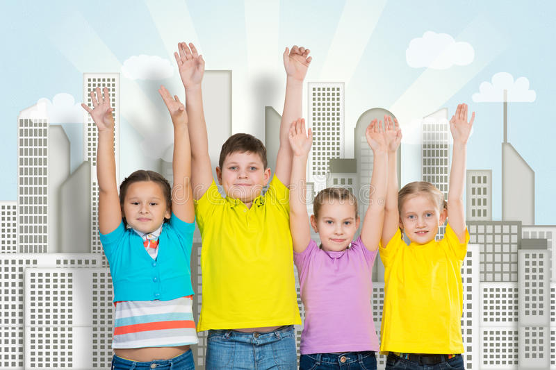 Children in a row stock photography