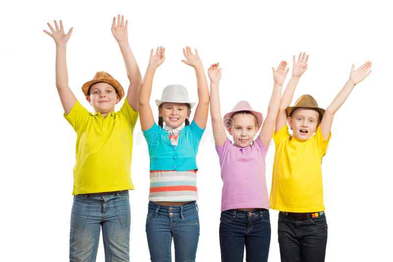 Children in a row, wearing a hat stock photo
