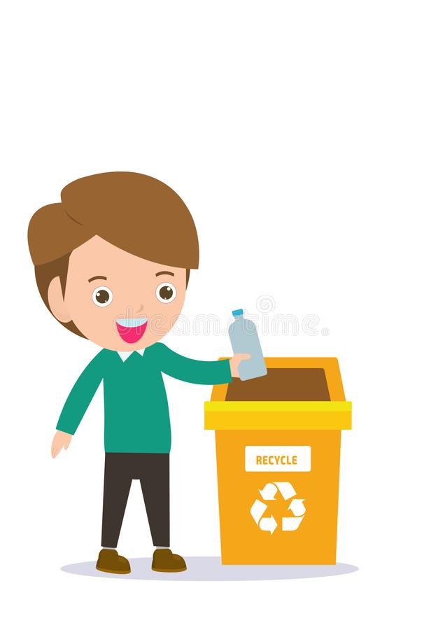Children rubbish for recycling, Illustration of Kids Segregating Trash, recycling trash, Save the World , male recycling. Kids Segregating Trash, children and vector illustration