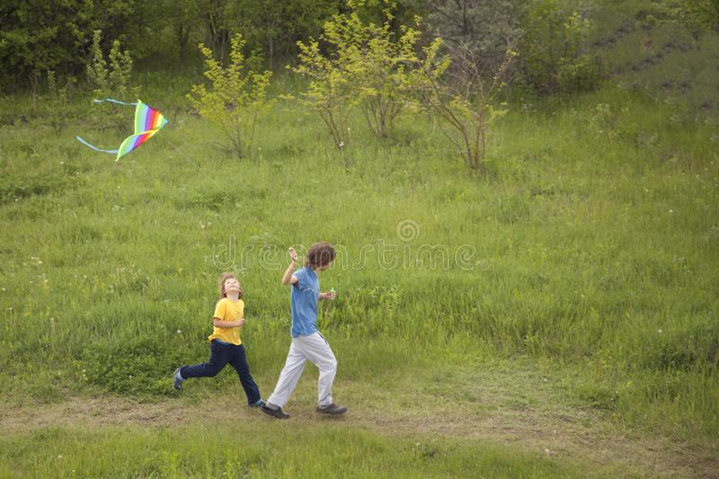 Download Children Run Playing Kite On Summer Meadow Stock Photo - Image of happiness, outdoor: 117122454