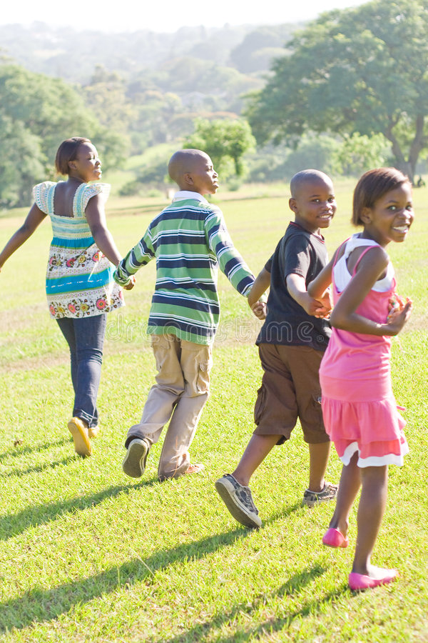 Children running. African children running in the park