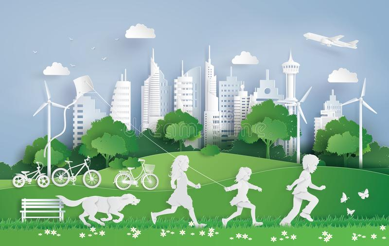 Children running in the city park. Illustration of eco and environment with children running in the city park . Paper art and digital craft style royalty free illustration