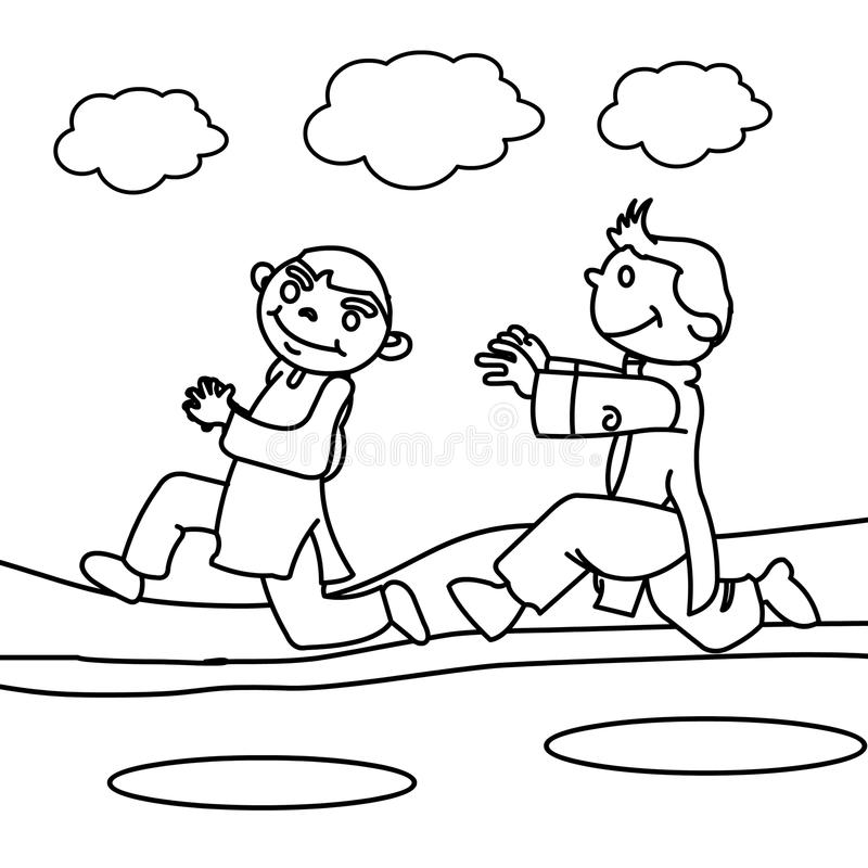 Download Children Running Coloring Page Stock Illustration