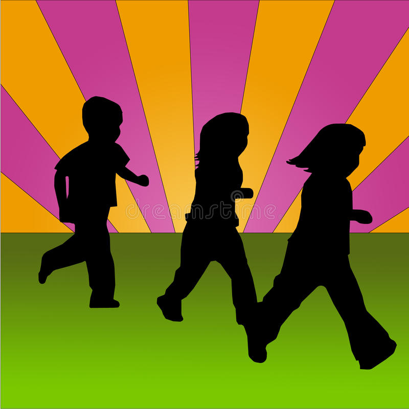 Children running on a coloured background stock photography
