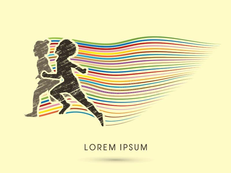 Children running graphic vector illustration